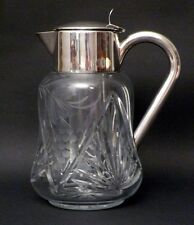 German Cut Glass Claret Pitcher Silver Fittings & Ice Insert
