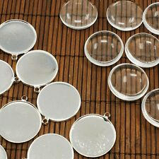 10 Sets 25mm Clear Domed Glass Cabochon Cover for Photo Pendant Making DIY