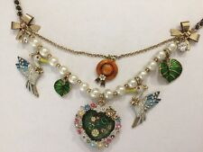 Betsey Johnson Walk In The Park Koi Fish Pond Heart Stork Bird Hat Necklace Rare