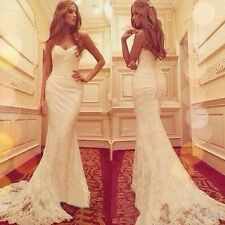 Fashion Lace Mermaid Wedding Dresses Sweetheart Boho Beach Bridal Gown Custom