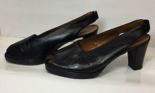 Hobbs Ladies Black Leather 40s Retro Sling Back Platform Peeptoe Shoes Size 6/39
