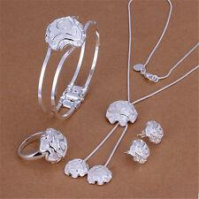 mujeres 925 plata  encanto Pendientes collar de la pulsera anillo joyería nuevo
