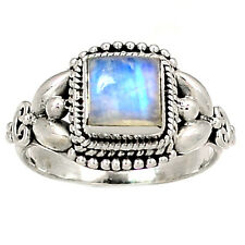 Rainbow Moonstone 925 Sterling Silver Ring Jewelry s.8 RR1489