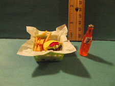 Barbie 1:6 Kitchen Food Miniature Basket Pita Sandwich Fries Pickle Drink aa