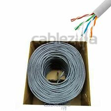 CAT5E 1000FT UTP SOLID Gray NETWORK ETHERNET CABLE CAT5 BULK WIRE RJ45 LAN