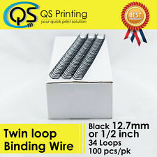 "12.7mm 1/2"" TWIN LOOP BINDING WIRE 3:1 Black 100/box"