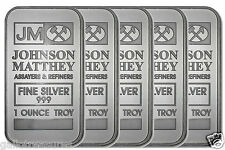 Five JM JOHNSON MATTHEY Fine Silver 999 1 Ounce Troy Bar