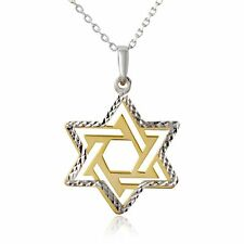 STAR OF DAVID MEDALLION NECKLACE PENDANT/ 2 TONE 925 STERLING SILVER /18'' LONG