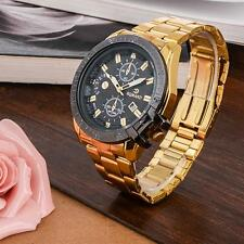 Luxury Mens Gold Stainless Steel Date Quartz Analog Wrist Watch Black Dial DH DH