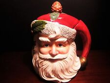 Omnibus Fitz and Floyd Hand Painted Santa Face Holly & Pinecone Cookie Jar 1993