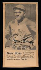 ROGERS HORNSBY Signed  Autograph Newspaper Photo JSA