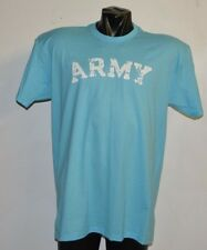 ARMY VINTAGE DESTROYED LETTERS BABY SKY BLUE T-SHIRT-  LARGE