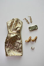 Barbie The Look Gold Dress Outfit Fit Model Muse