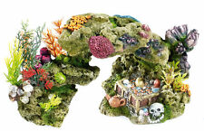 Lava Rock Coral & Plants with Skull & Treasure Chest Aquarium Fish Tank Ornament