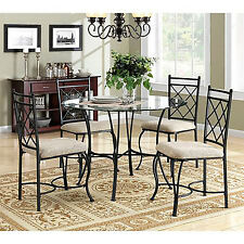 5 Piece Kitchen Dining Set Glass Top Metal Furniture 4 Chairs and Table