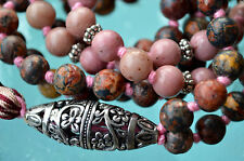 Rhodonite & Jasper Hand Knotted Bhakti Mala Beads Necklace - Energized Karma Nir