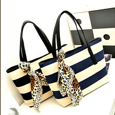Lady Stripe Casual Tote Bag with scarf - Blue COD PAYPAL