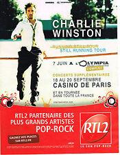 PUBLICITE ADVERTISING  2012   RTL2 radio  CHARLIE WINSTON  STILL RUNNING TOUR