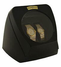 Dual 2 Watch Winder Diplomat Case Box Storage Timer Black Dual Automatic