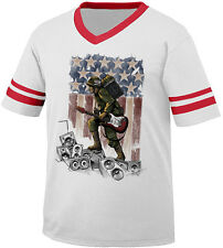 Soldier Holding Guitar And Amp Rock Music USA Pride Flag Retro Ringer T-shirt