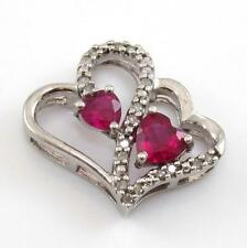 Sterling Silver Natural Diamond Pink Sapphire Double Heart Pendant