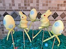 S/5 EASTER EGGS & BUNNY PICKS FOAM GLITTER FLORAL DECOR WREATHS CRAFTS YELLOW