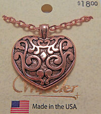 "Copper Pendant Heart 18"" Chain Necklace Wheeler Healing Arithitis Pain 161"