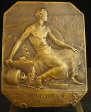 Médaille Belgium c 1955 Le travail outils Working man Work cf Mauquoy Medal 铜牌