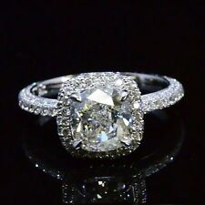 2.09 Ct Cushion Cut Diamond Halo Micro Pave Engagement Ring H,VVS1 14K GIA