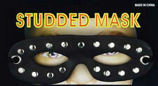 BLACK LEATHER LOOK STUDDED MALE EYE MASK DOMINO MASQUERADE COSTUME ACCESSORY