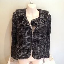 FRENZ BY THERESA RENZ DESIGNER BLACK WHITE BLEND JACKET LINED RUFFLES SIZE 14