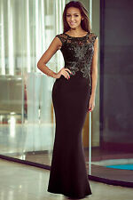 Maxi Abito lungo ricamato pizzo Aderente scollo Nudo Lace Sequin Evening Dress L