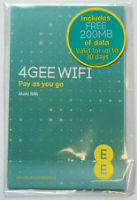 EE 4G Data Sim Pay As You Go Mobile Broadband with 200MB FREE