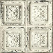 Wallpaper Old Weathered Faux Ceiling Tiles Cream Gray Taupe Charcoal SMOOTH