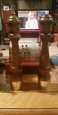"GAIL CRAFT SALT AND PEPPER MILL GRINDER SET IN DARK WALNUT (??) WOOD 11"" TALL"