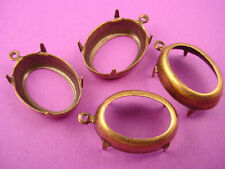 12 Brass Ox Oval Prong Setting with 1 Loops 18x13 open back