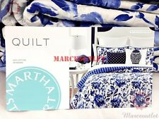 Martha Stewart Collection Watercolor Rose FULL / QUEEN Cotton Quilt Blue / White