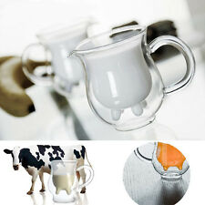 Double Layer Glass Cow Milk Cup Creamer Coffee Mug