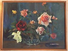 E.G. DELGADO Original Vintage Oil Painting On Board Roses and Cigarette