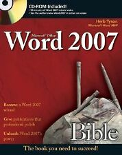 Microsoft Word 2007 Bible, Tyson, Herb, Good Book