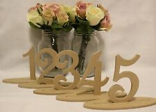 Set of 10 Freestanding wooden table numbers with base wedding decor birthday