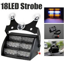 18 Amber/White LED Emergency Vehicle Strobe Lights for Windshields Dashboard