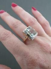 Vintage 9ct Gold Diamond Prasiolite Green Amethyst  Quartz Cocktail Ring