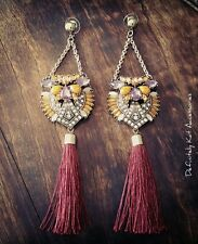 Stunning orange, purple crystal long drop cocktail red tassel statement earrings