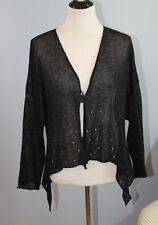 ZUZA BART O/S S M L XL Quirky Lagenlook Black Linen Knit Cardigan Sweater