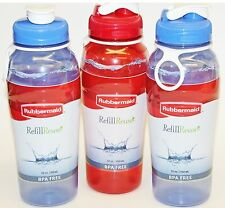 3 Rubbermaid 7M46 32oz Large Chug Refill Reuse Water Bottles BPA FREE Blue & Red