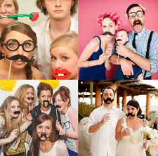 58PCS DIY Masks Photo Booth Props Mustache for Xmas Wedding Birthday Parties