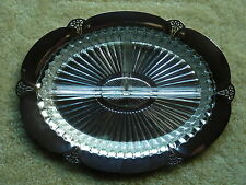 ANTIQUE WILLIAM ROGERS COIN SILVERPLATE CONDIMENT TRAY / DISH WITH GLASS INSERT