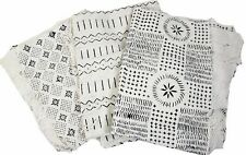 "Authentic White/Black Mudcloth Fabric African Mali Mud Cloth Handwoven 45""x 63"""