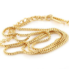 Vogue Yellow Gold Plated Womens collar Box Chain Long necklace 19.6 ""